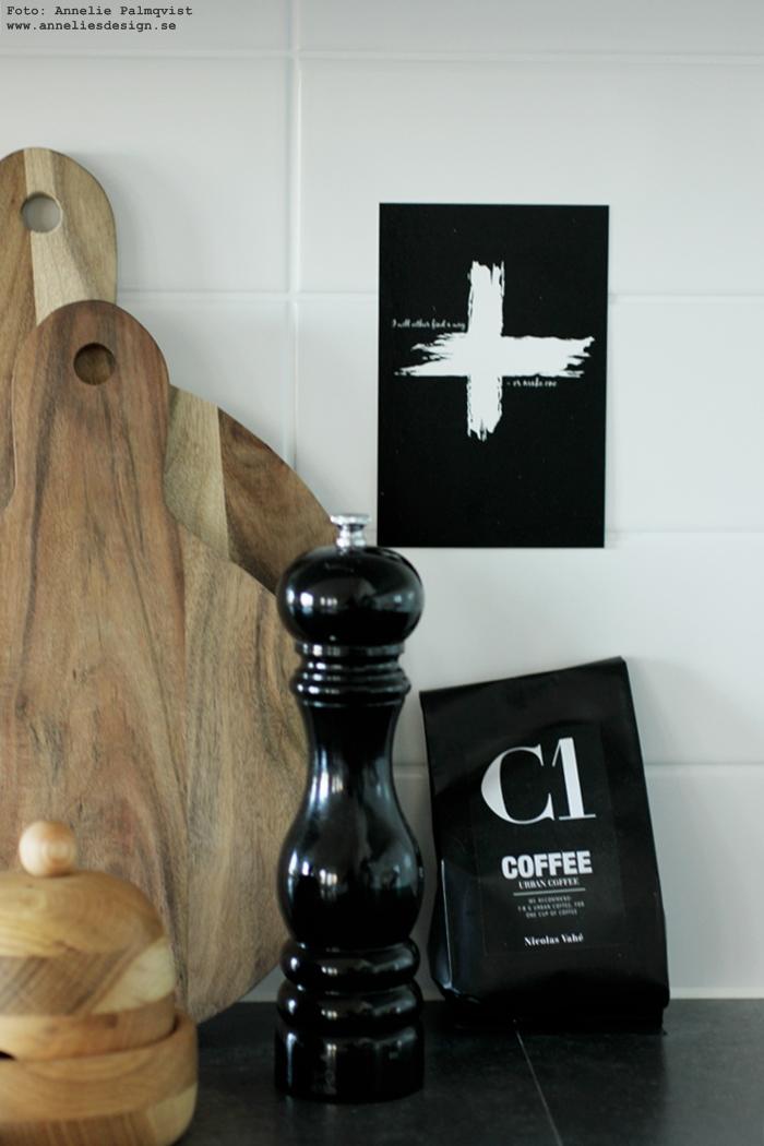 vykort, annelies design, webbutik, webshop, nätbutik, nettbutikk, svartvit, svartvita, svart och vitt, kors, kaffe, inredning, kök, köket, vitlöksgömma,
