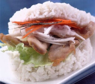 Rice Burger with Chicken Teriyaki Recipe