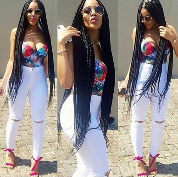 Click here to buy AFRICAN ROYALE BRAID AND EXTENSIONS SHEEN SPRAY to add shine to your box braids.