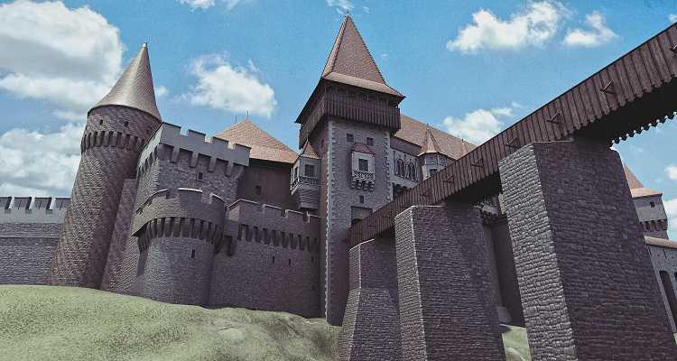 Imagine 3D a castelului Hunedoarei sau Castelul Corvinilor