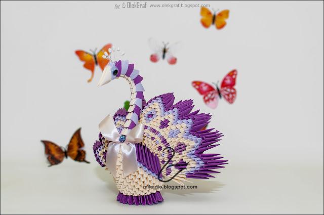 570. Paw z origami / 3d origami peacock