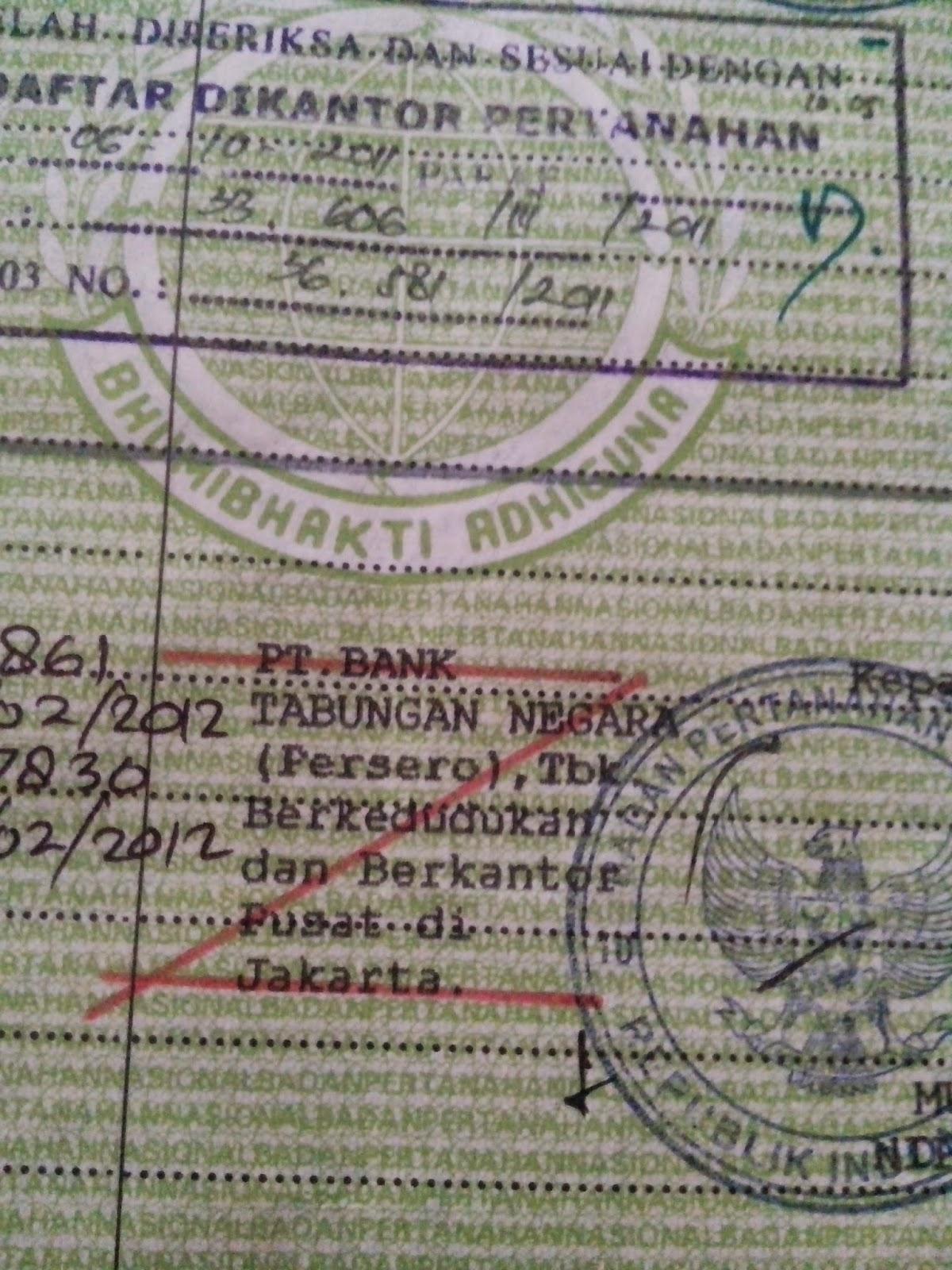 Surat Kuasa Pengambilan Sertifikat Rumah Di Bank Btn ...