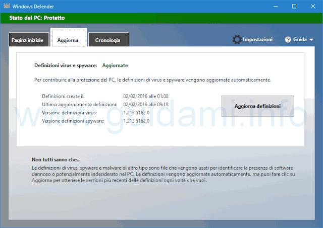 Windows Defender Aggiorna definizioni