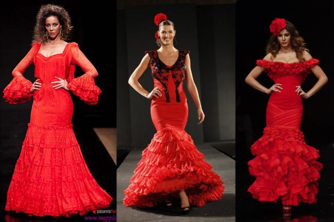 Vestidos de flamenca básicos rojos