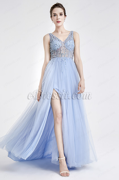 Blue Sparkly V Cut Beaded Women Evening Dresses