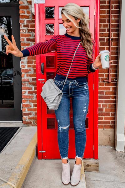 21+ Non-Boring Fall Outfits for Work | Sweater in Red Stripe + Highrise Skinny Jeans + Validas Wedge Bootie + Rebecca Minkoff Shoulder Bag