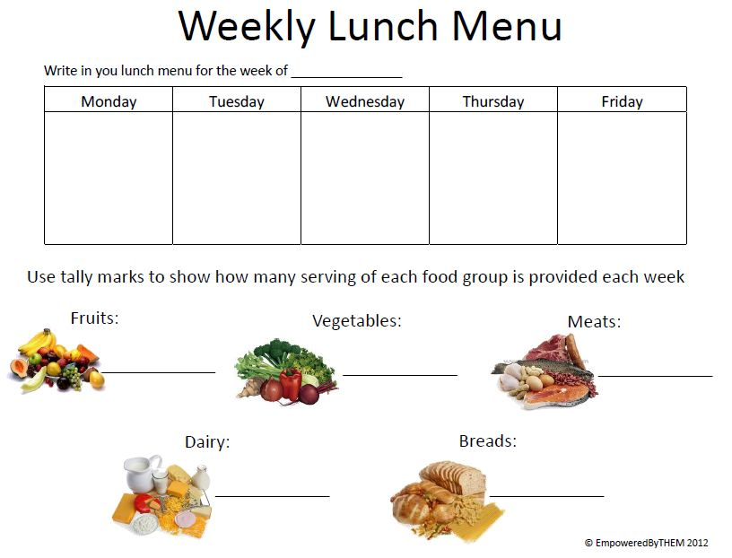 Empowered by them weekly lunch menu food groups for Free school lunch menu templates