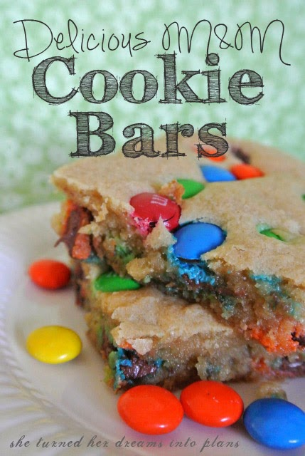 Delicious M&M Cookie Bars