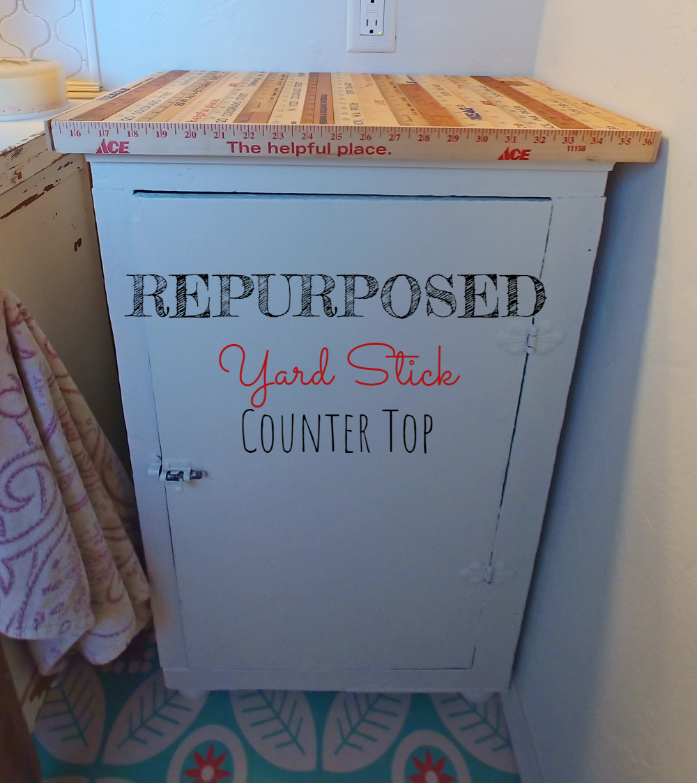 how to make a table or counter top from old yardsticks