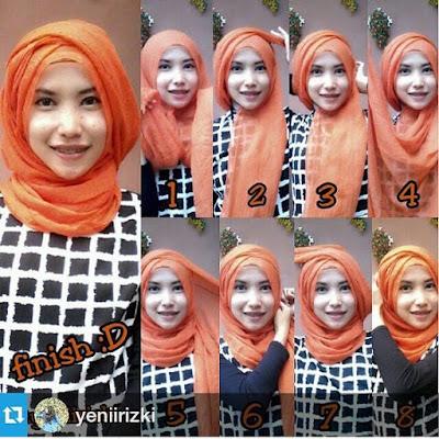 Tutorial Hijab Turban Pashmina Modern Gaya #19 Heroine Style