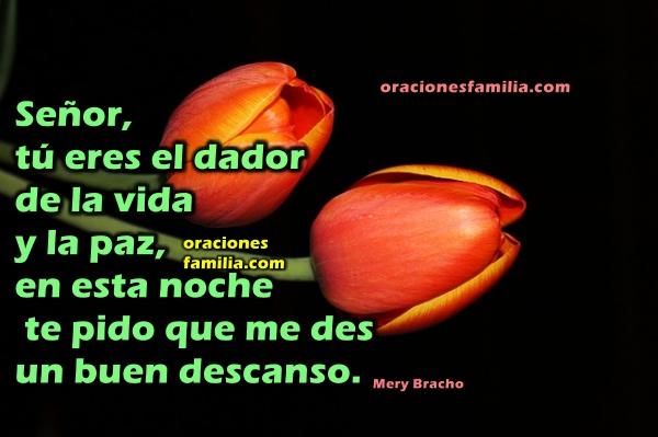 Oración de tranquilidad y protección en la noche para dormir bien, oraciones para antes de irse a la cama, imágenes cristianas de buenas noches con plegaria por Mery Bracho.