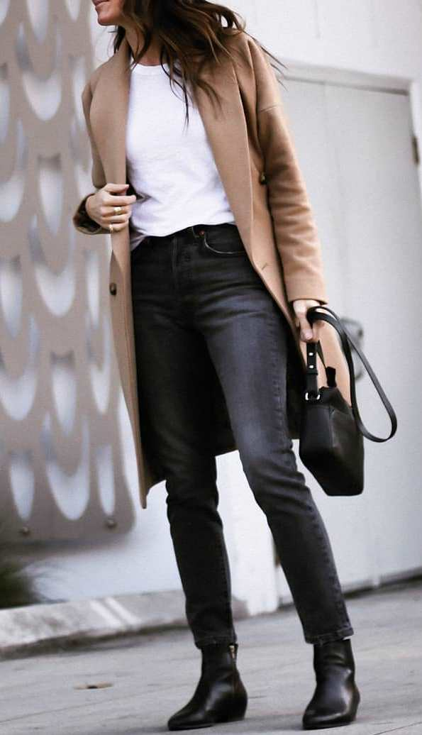 what to wear this fall : cashmere coat + white t-shirt + bag + black jeans + boots