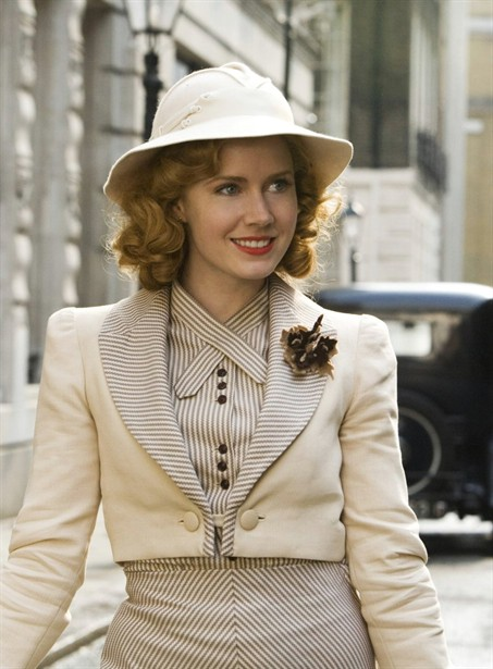 adams miss pettigrew lives for a day 1930s style striped cream suit
