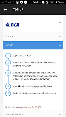 Virtual Account BCA Pada Aplikasi GoJek