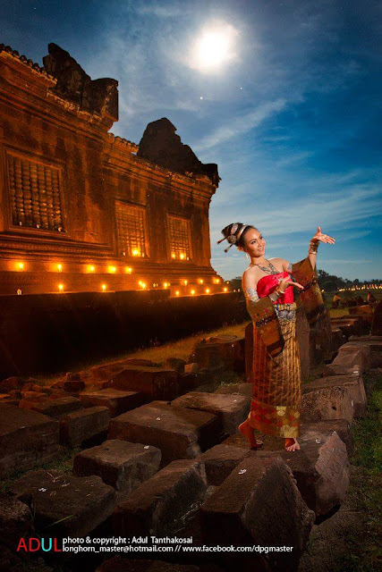 Photo of dancer at Wat Phu, Champassak, Laos under the moonlight
