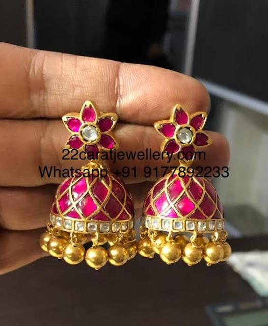 92.5 Silver Simple Kundan Earrings