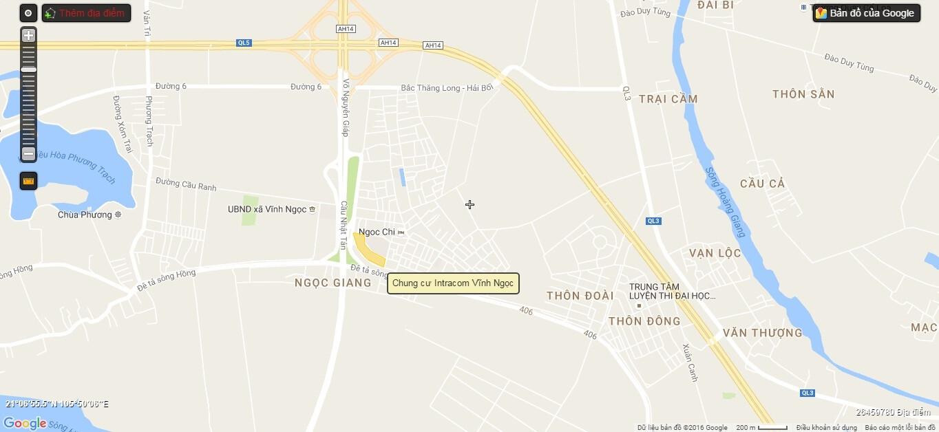 Vị trí chung cư Intracom Vĩnh Ngọc.