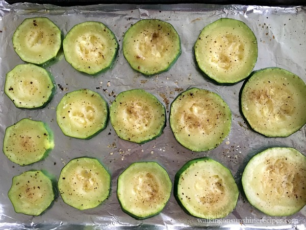Zucchini on Tray after baking for Zucchini Pizza Bites from Walking on Sunshine