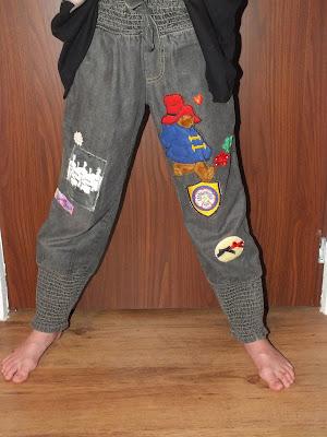 spodnie z naszywkami dla dziewczynki