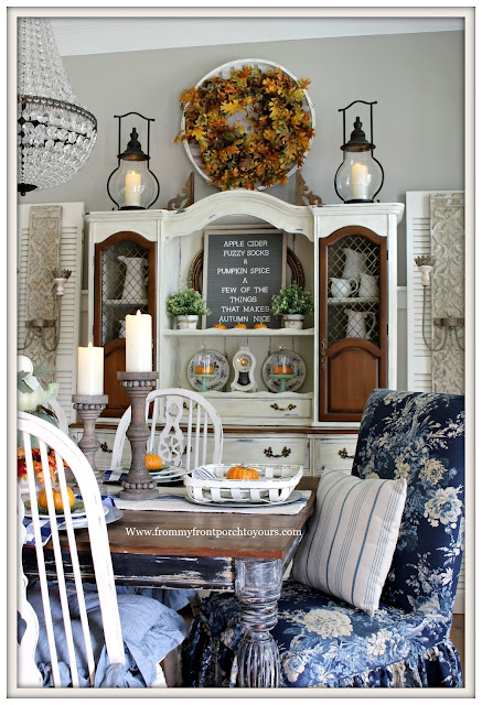 French Country Farmhouse Fall Dining Room-Waverly Ballad Bouquet-China hucth-DIY-From My Front Porch To Yours