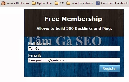Free Membership - Allows to build 500 Backlinks and Ping