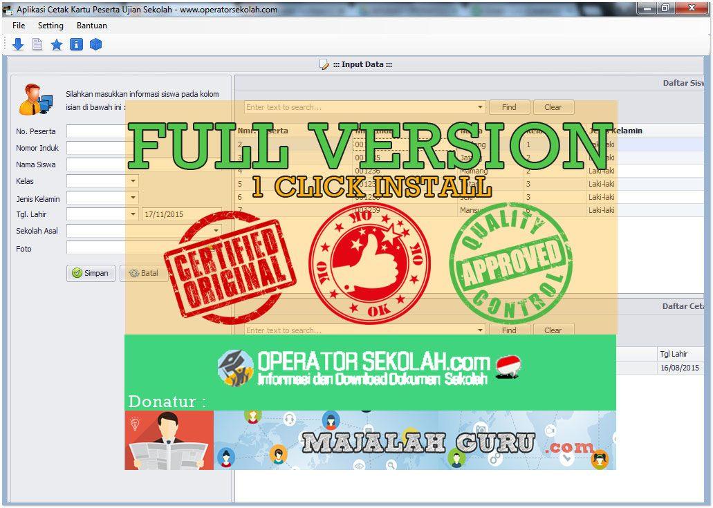 Full Version 1 Click Instal Aplikasi Cetak Kartu Peserta Ujian Sekolah Operator Sekolah