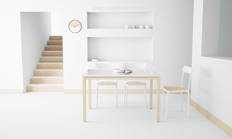 silla cocina madera blanca