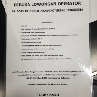 Pabrik PT. Topy Palingda Manufacturing Indonesia karawang