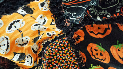 halloween orange and black rag quilt, autumn blanket by refabulous