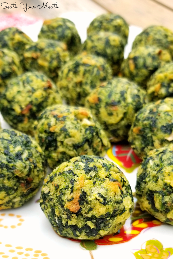 Spinach Balls! An easy, crowd-pleasing appetizer recipe using spinach, parmesan cheese and herb stuffing.