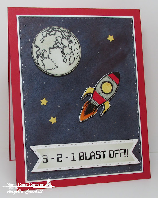 NCC Rocket Man, NCC Custom Space Man Dies, ODBD Custom Double Stitched Pennant Flags Dies, ODBD Custom Double Stitched Rectangles Dies, Card Designer Angie Crockett