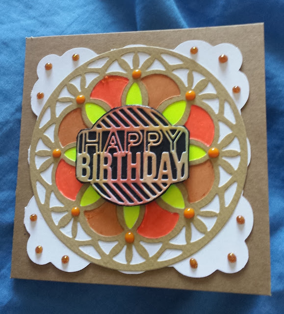 "Happy birthday ""stained glass"" window hand coloured square card"