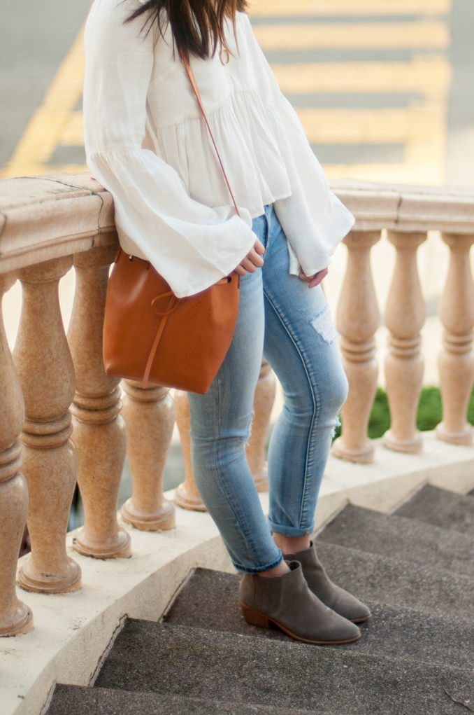 san francisco fashion blogger wearing minkpink bell sleeved top and joie barlow suede booties