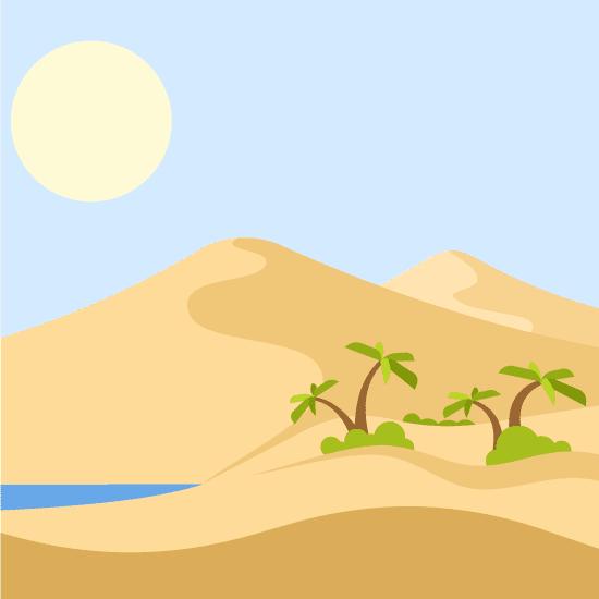 Oasis en desierto con dunas de arena y palmeras cartoon