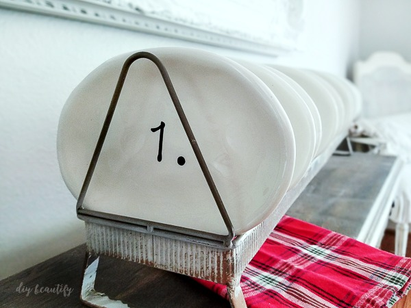 chicken feeder and numbered plates