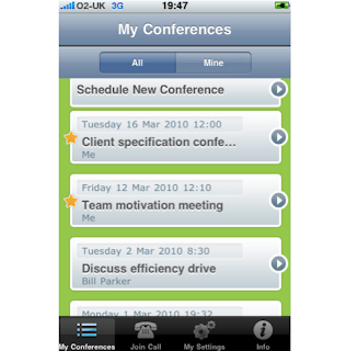 Powwownow iPhone app My Conferences screenshot