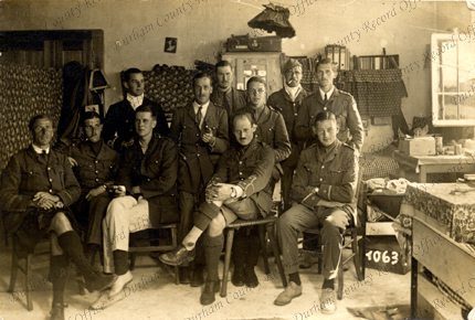 Prisoners of war in Germany, Angus Leybourne is seated second from the right, 1915/16  (D/DLI 2/8/12(39))
