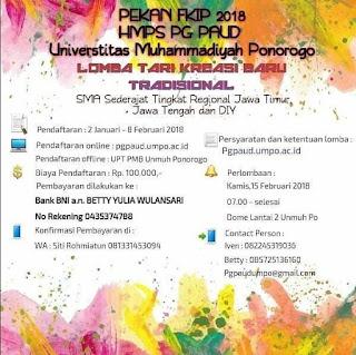 Lomba Tari Kreasi Baru Tradisional SMA Sederajat by Univ. Muhammadiyah Ponorogo