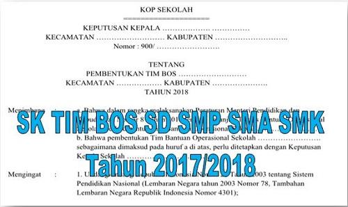 Contoh SK TIM BOS SD SMP SMA SMK Tahun 2018