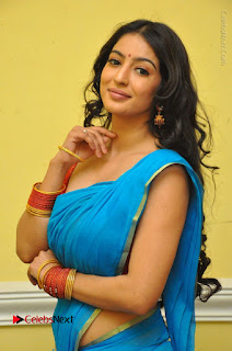 Telugu Actress Vaibhavi Stills in Blue Saree at Www.Meena Bazaar Movie Opening  0042.JPG