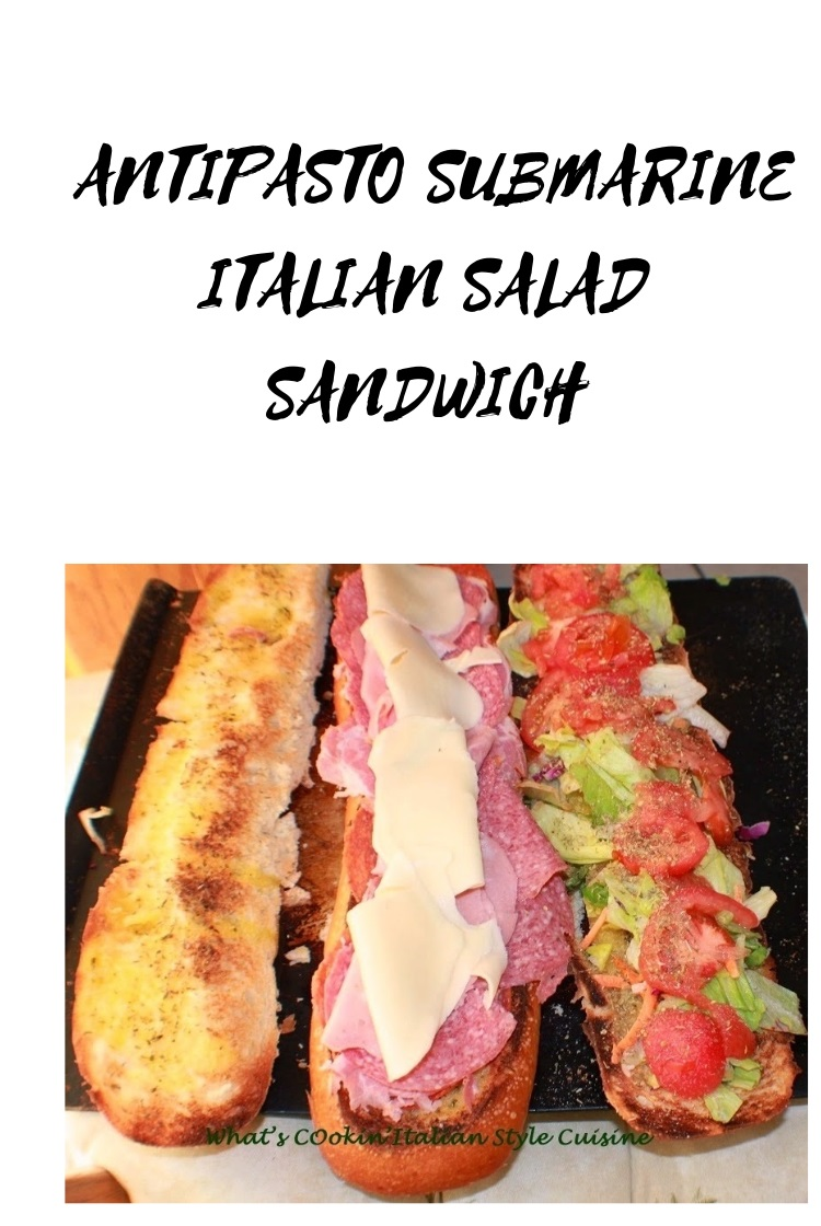 This is a salad in a large loaf of sliced bread in 3 layers called Antipasto Submarine Salad Sandwich. antipasto is an Italian salad with imported meats and cheese with lettuce, tomato and Italian Dressing