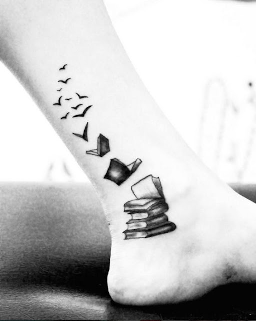 Book Transforming into Birds Tattoos