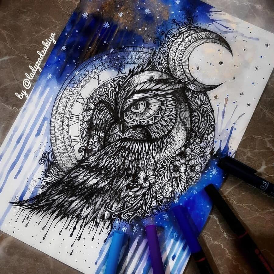 13-The Owl and the Moon-Anugrah-Momof-Mandala-Art-www-designstack-co