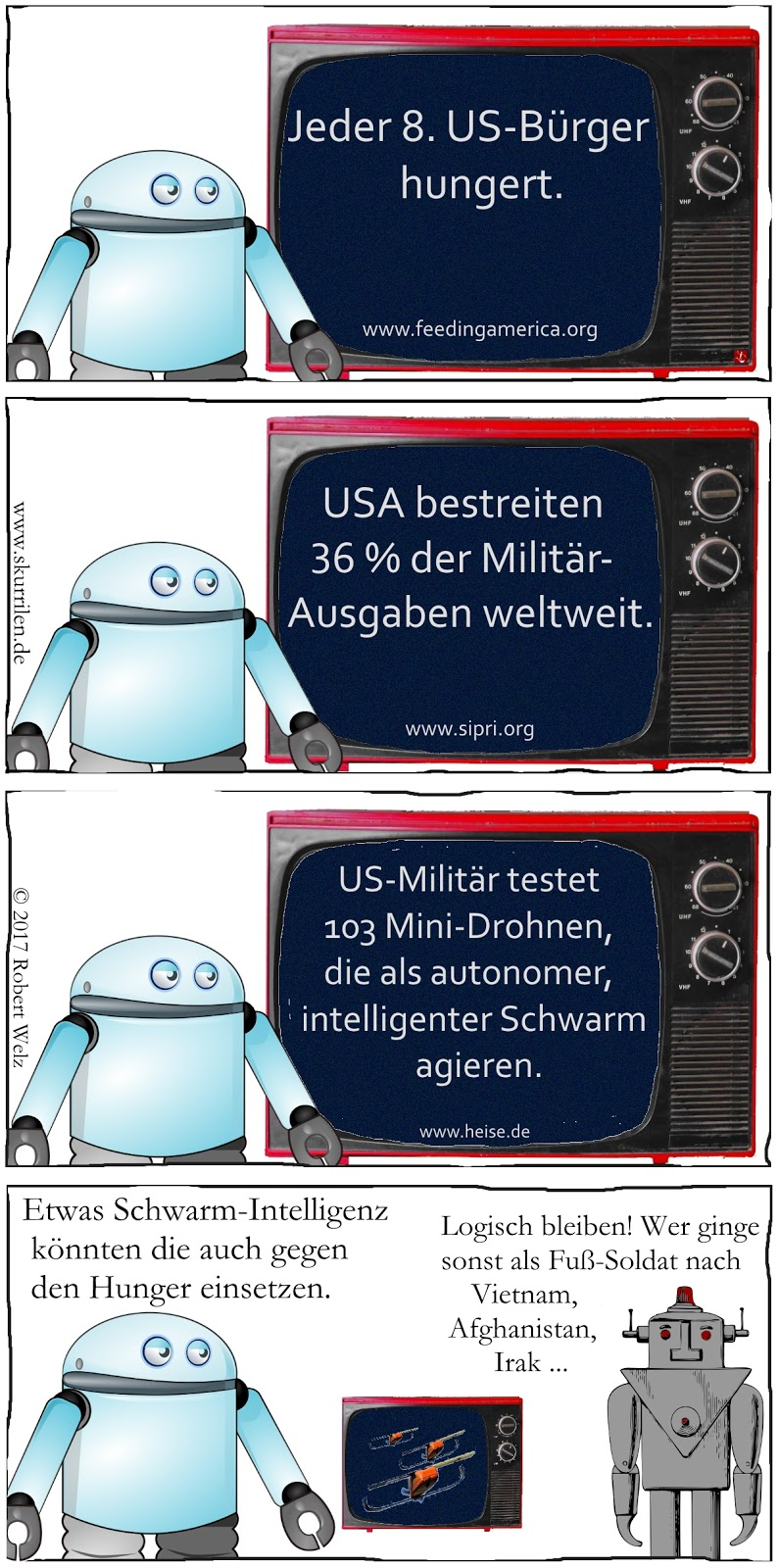 Hunger USA Militär Roboter Android intelligente Drohnen Schwarm-Intelligenz Satire Comic Collage