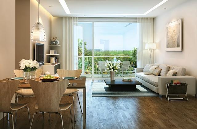 Mẫu thiết kế phòng khách và phòng ăn chung cư ICID COMPLEX