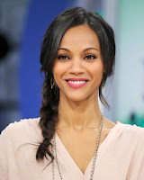 Zoe Saldana casual side braid