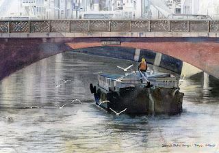 Gull. Watercolor. 「かもめ 昌平橋」水彩画