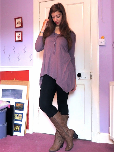 Lilac Dreams | outfit of long, tunic style purple top, black leggings, and tall, high heeled brown leather boots