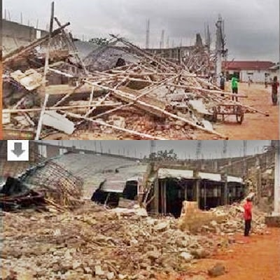 Hundreds Escape Death as Lord's Chosen Church Auditorium Collapses in Asaba (Photos)