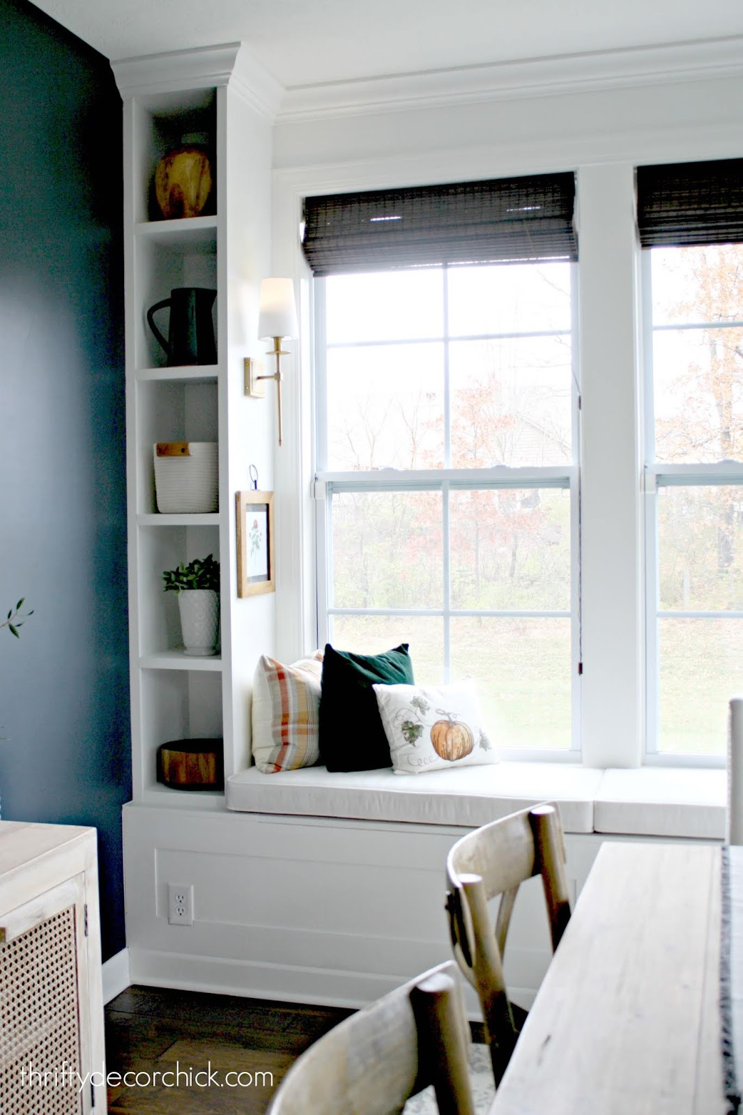 Classic window seat built in with cushions
